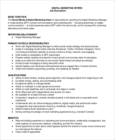 Marketing Intern Job Description Sample   Examples In Word Pdf