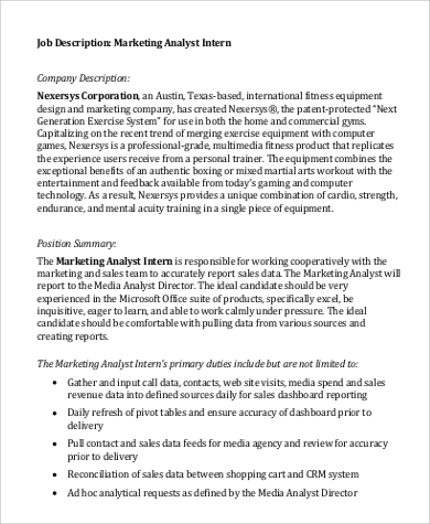 marketing analyst intern job description format