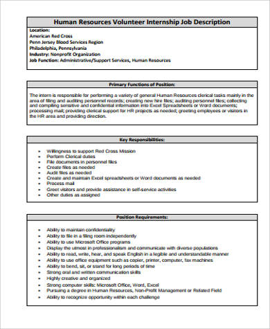 Hr Intern Job Description Sample - 9+ Examples In Word, Pdf