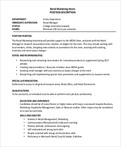 retail marketing intern job description example