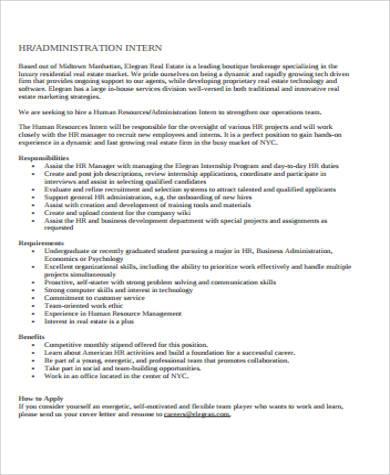 hr and administration intern job description