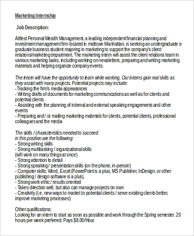 Marketing Intern Job Description In Word