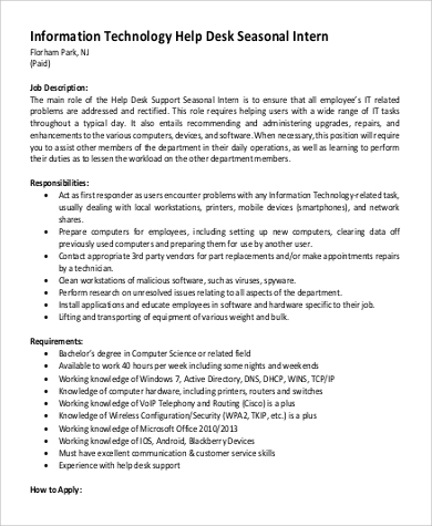 It Intern Job Description Sample 9 Examples In Pdf