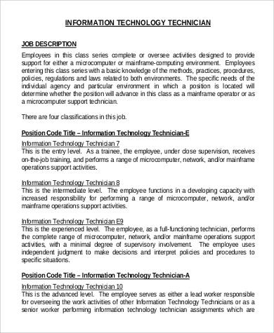 it technician intern job description
