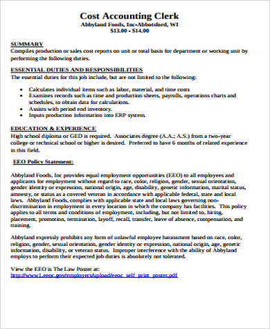 Accounting Intern Job Description Sample   Examples In Word Pdf
