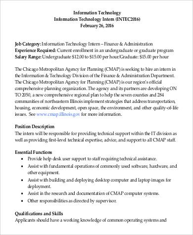 information technology administration intern job description