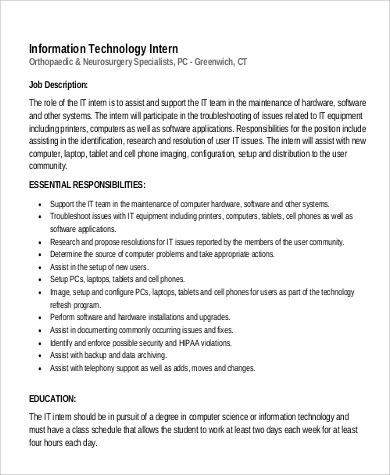 It Intern Job Description Sample - 9+ Examples In Pdf