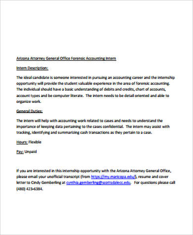 forensic accounting intern job description