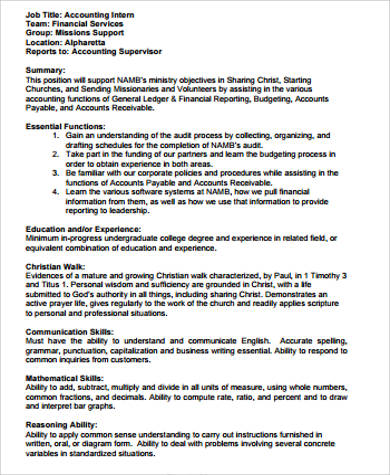 Accounting Intern Job Description Sample - 9+ Examples In Word, Pdf