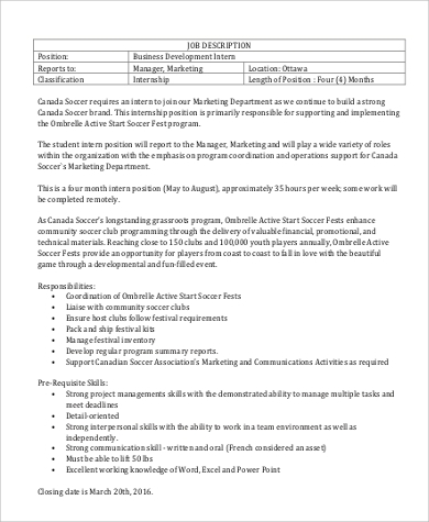 Business Intern Job Description Sample   Examples In Word Pdf
