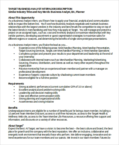 Captivating Target Business Analyst Intern Job Description In PDF Design