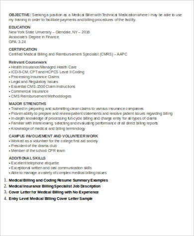 entry level medical billing resume