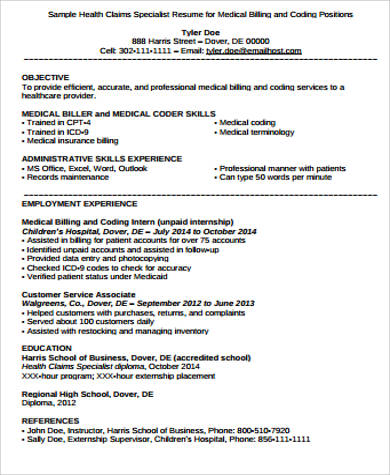 medical coding and billing resume
