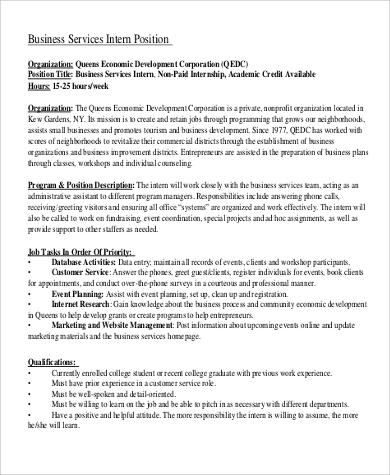 business services intern job description example