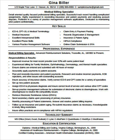 medical billing specialist resume