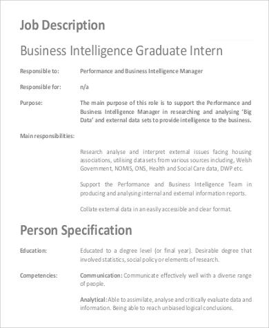 business intelligence graduate intern job description