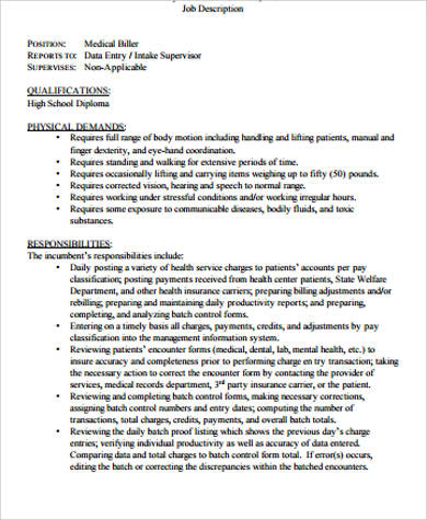 medical billing job description