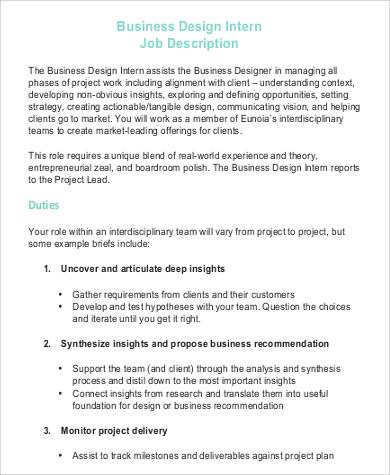 business design intern job description in pdf