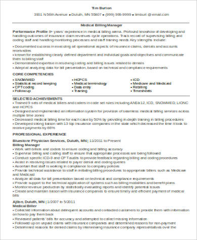 medical billing manager resume