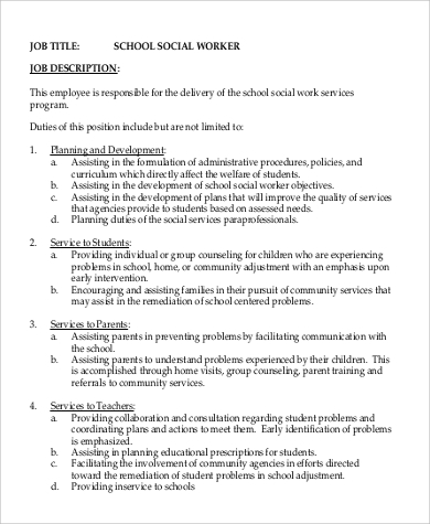 6+ Social Work Intern Job Description Samples | Sample Templates