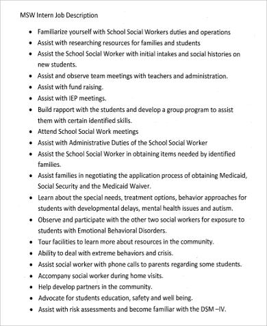 Social Work Intern Job Description Sample   Examples In Word Pdf