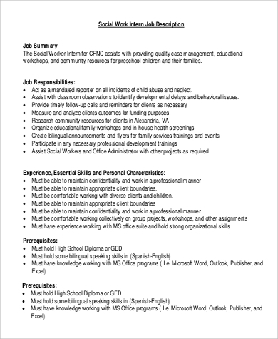 Social Work Intern Job Description Sample - 6+ Examples In Word, Pdf