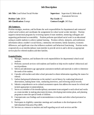 Awesome Social Work Intern Job Description Photos - Best Resume
