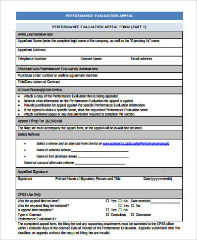 performance evaluation appeal form pdf