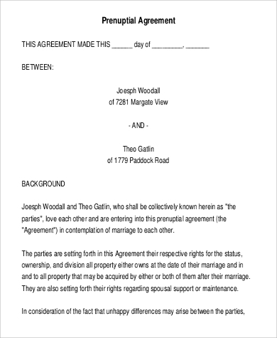 standard prenuptial agreement form1