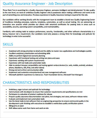 Quality Engineer Job Description Sample   Examples In Word Pdf