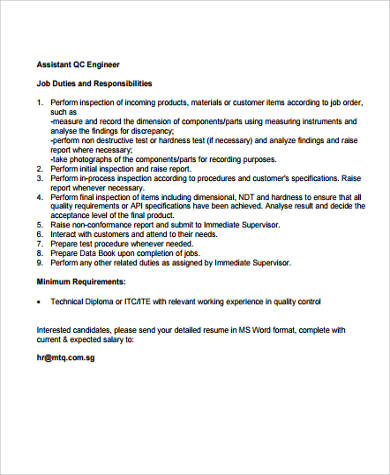 Beautiful Quality Control Engineer Job Description In PDF