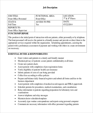 Medical Receptionist Job Description Sample   Examples In Word Pdf