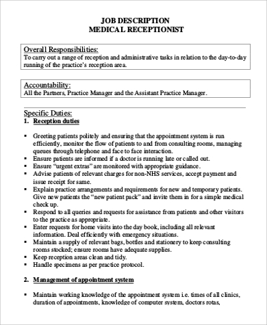 Medical Receptionist Job Description Sample - 9+ Examples In Word, Pdf
