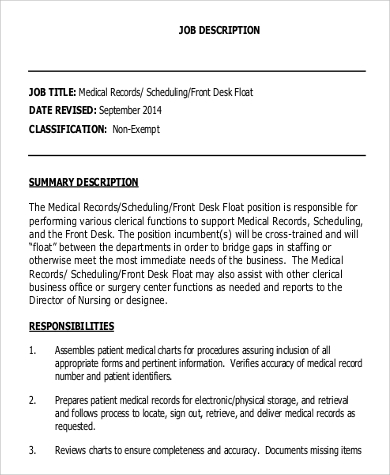 medical records clerk job description sample 9 examples in word pdf