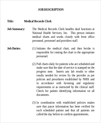 Medical Records Clerk Job Description Sample   Examples In Word Pdf