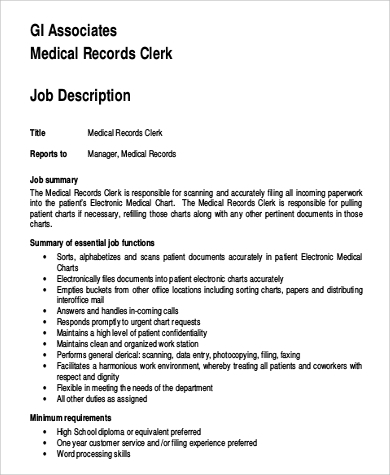 associate medical records clerk job description