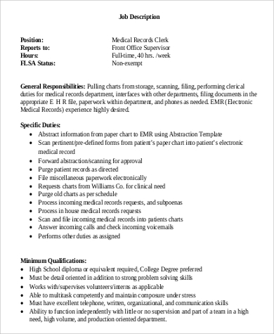 Medical Records Job Description Insurance Resume Cover Letter