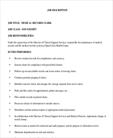medical records clerk job description responsibilities