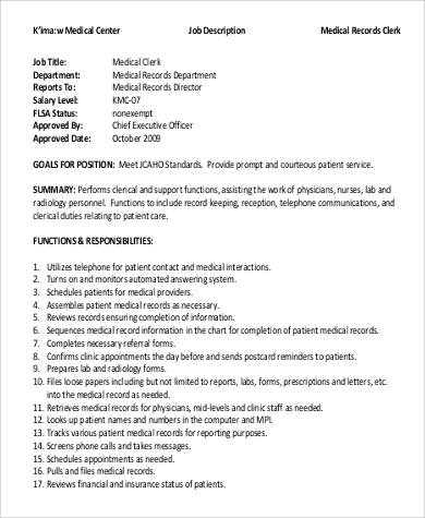 Medical Records Clerk Job Description Sample - 9+ Examples In Word