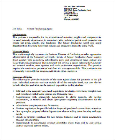 Purchasing Agent Job Description Sample - 8+ Examples In Word, Pdf