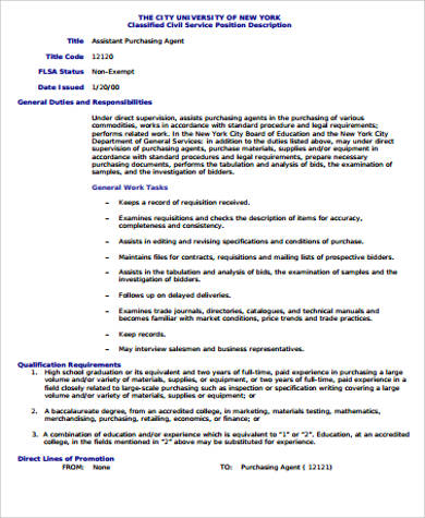 Elegant Assistant Purchasing Agent Job Description