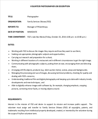 Photographer Job Description Samples   Examples In Pdf