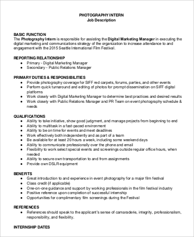 photographer intern job description example