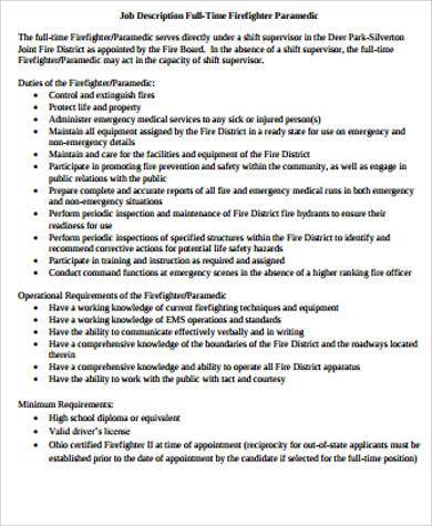 Paramedic Job Description Sample   Examples In Word Pdf