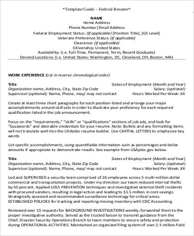Free 7 Federal Resume Samples In Ms Word Pdf