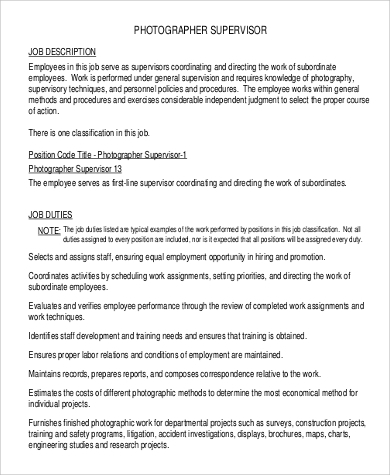 photographer supervisior job description