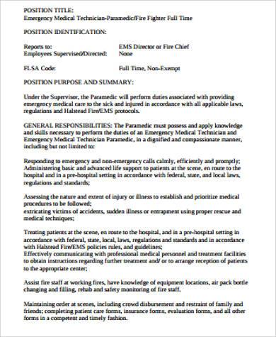 paramedic job description sample 8 examples in word pdf