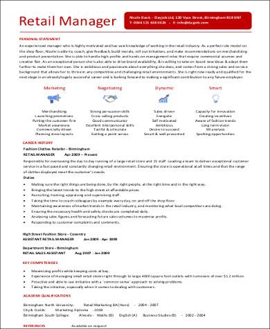 retail manager resume pdf