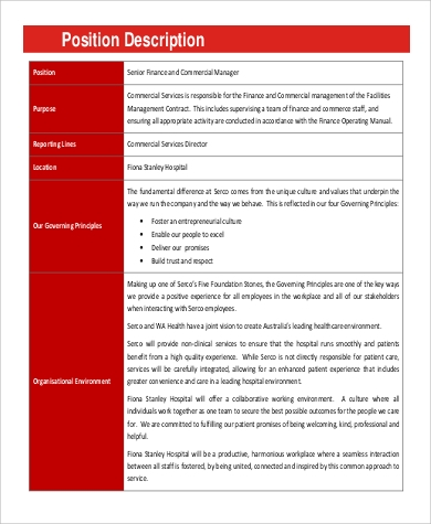 commercial manager job description sample 9 examples in word pdf