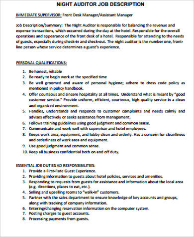Night Auditor Job Description Sample   Examples In Word Pdf